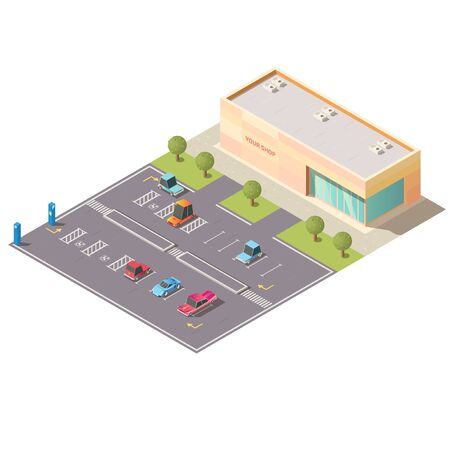 Illustration for Mall, supermarket car parking area with vehicles, going on road, parked on lots for disabled people near shop building isolated, isometric vector. City transport infrastructure low poly illustration - Royalty Free Image