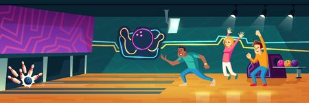 People playing bowling in club throwing balls along alleys to hit pins. Friends company relax in recreation area with skittles on lane, scoreboard and neon illumination. Cartoon vector illustration