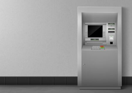 Illustration pour ATM with blank black display. Bank terminal for transaction, withdraw money and deposit to account. Vector illustration of realistic cash machine with copy space for your text. - image libre de droit
