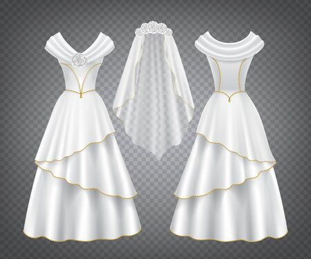 Illustration pour White wedding woman dress with tulle veil decorated by flowers and golden stitching. Vector elegant bridal silk gown with long skirt in front and back view isolated on transparent background - image libre de droit