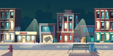 Illustration pour Ghetto street at night, slum houses, old buildings with glow windows and graffiti on walls. Dilapidated dwellings stand on roadside with lamps, fire hydrants, litter bins cartoon vector illustration - image libre de droit