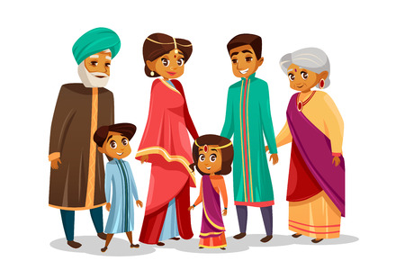 Illustration pour Vector cartoon Indian family characters set. - image libre de droit