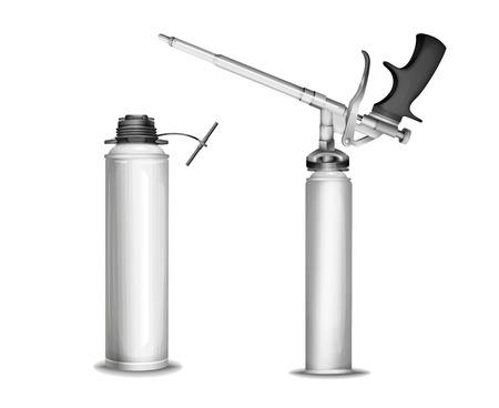 Construction foam vector illustration of 3D PU polyurethane foam sprayer gun or pistol and metallic container. Realistic isolated construction foam bottle mockup model mechanism