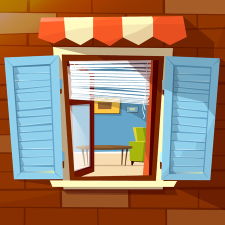 Illustration pour House facade open window vector illustration of window with open wooden shutters and room interior view inside. Flat cartoon design of old or modern window awning on brick wall background - image libre de droit