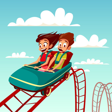 Illustration pour Kids on rollercoaster rides vector illustration. Boy and girl riding fast on Russian mountains amusement rides, happy laughing or excited scared with open mouth on amusement park background - image libre de droit