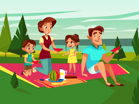Illustration pour Vector cartoon caucasian family at outdoor picnic party at weekend. Cheerful adult couple - mother and father, boy and girl kids together eating watermelon sitting at cover on green grass at park. - image libre de droit