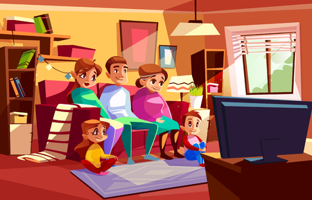 Illustration pour Family together watching TV vector illustration of parents and children sitting on sofa or chair in living room. Cartoon mother, father and grandmother with boy and girls kids in flat watch television - image libre de droit