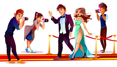 Illustration pour Vector cartoon couple of famous celebrities on red carpet with paparazzi isolated on white background. Photographers with cameras work with rich superstars for mass media on premiere, ceremony show. - image libre de droit