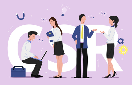 Ilustración de SCR corporate social responsibility vector illustration of business sustainability management. Company team men and women with laptops discussing on plans and brand social projects with chat bubbles - Imagen libre de derechos