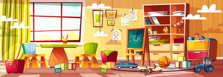 Illustration pour Vector cartoon kindergarten for children, playground with window. Recreational stuff, interior of kids room, preschool. Toys for teaching infants - cubes, cars and blackboard. - image libre de droit