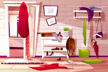 Illustration pour Hallway room messy interior vector illustration of retro apartment corridor or store entrance clutter. Cartoon wardrobe with store compartments and clothing scattered on floor and dusty web on shelf - image libre de droit