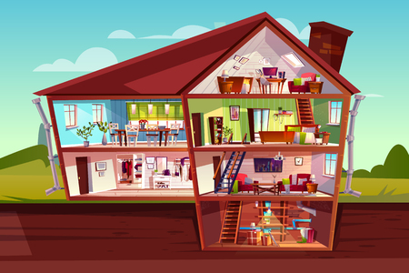 Illustration pour House cross section vector illustration of home interior and furniture. Cartoon private mansion floors plan of attic, living room or bedroom apartments with kitchen, corridor hall and cellar storey - image libre de droit