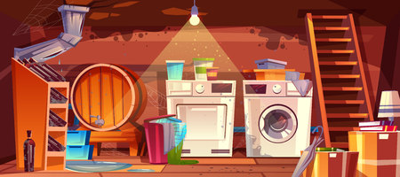 Illustration pour Cellar with leakage flood and black mould on walls vector illustration. House basement or wine vault with barrel, bottles or laundry dryer and washing machine, cartoon dirty shabby interior background - image libre de droit