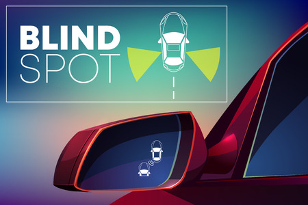 Illustration pour Blind spot assist cartoon vector concept. Danger warning alert visual signal icon in car rear view mirror. Radar sensor for road situation monitor. Modern vehicle safety, crash prevention technology - image libre de droit