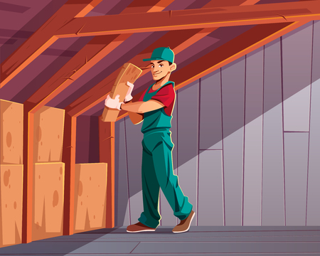 Building thermal or acoustic insulation, dwelling heat loss minimizing cartoon vector illustration. Construction company worker putting mineral wool between wood beams in house walls or roof overlap