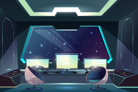 Illustration pour Future spaceship captains bridge, command post interior cartoon vector illustration with pilot steering wheel or helm in front of control screen, futuristic armchairs and starry space outside porthole - image libre de droit