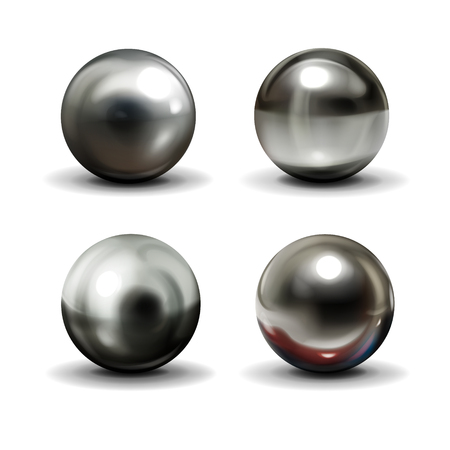 Illustration pour Set of steel or silver balls with shadows from below realistic vector isolated on white background. Shiny, metallic spheres with various light reflections on chrome surface 3d illustrations collection - image libre de droit
