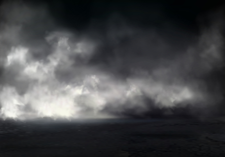 Illustration pour Morning fog or mist on river, smoke or smog spreading at dark water or ground surface realistic vector background. Natural phenomenon, mysterious atmosphere element, environment design visual effect - image libre de droit