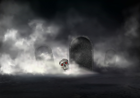 Illustration pour Horror on old cemetery at foggy night realistic vector. Zombie head, skull of deceased with glowing red eyes getting out from grave illustration. Risen with black magic dead. Halloween background - image libre de droit