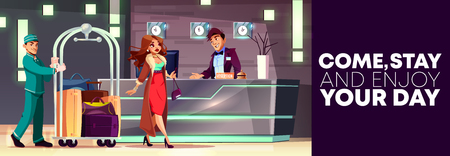 Illustration pour Vector cartoon background of reception with rich lady and bellboy. Service of hotel, banner with people at hall. Manager, receptionist behind the desk and tourist at lobby, foyer. Interior of inn. - image libre de droit