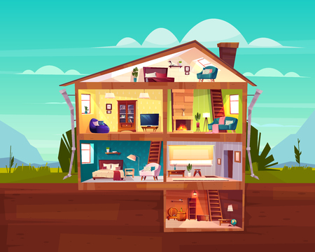 Illustration for Two-storey cottage house cross section interior cartoon vector with spacious hall, fireplace in comfortable living room, bedroom on attic and wine cellar in basement illustration. Real estate concept - Royalty Free Image