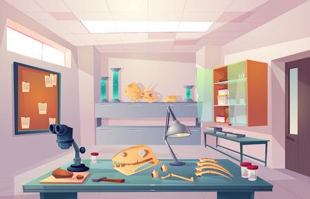 Illustration for Palaeontology, university genetics laboratory, examining fossilized bones, studying dinosaurs skeleton anatomy cartoon vector illustration - Royalty Free Image