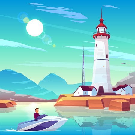 Illustration for Lighthouse in harbor and powerboat with man passing by dwellings and tower stand on rocky coast at sunny day. Male Character drive motorboat in sea bay near beacon building Cartoon vector illustration - Royalty Free Image