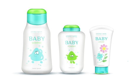Illustration pour Baby cosmetics package set with kids design, plastic bottles mock up of cream, shampoo, soap, foam, moisturizer with cartoon character isolated on white background. Realistic 3d vector illustration - image libre de droit