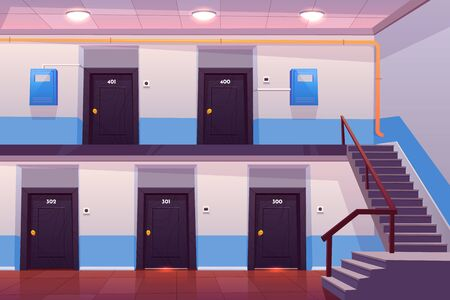 Illustration pour House entrance interior, empty hallway or corridor with numbered doors, stairs, tiled floor and electric meter boxes on wall, cross section view, apartments in condominium. Cartoon vector illustration - image libre de droit
