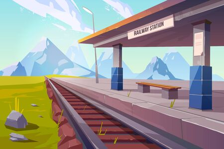 Illustration pour Railway station at mountains, empty railroad platform for train in highland countryside area perspective view, beautiful nature landscape background, public transportation. Cartoon vector illustration - image libre de droit
