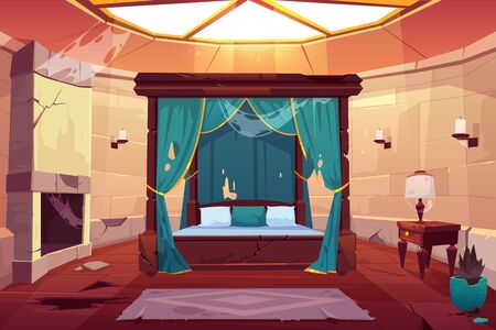 Illustration for Abandoned bedroom in castle with canopy double bed. Scary empty palace apartment interior with window on roof, fireplace with spiderweb, cracked stone floor and dry plant. Cartoon vector illustration - Royalty Free Image