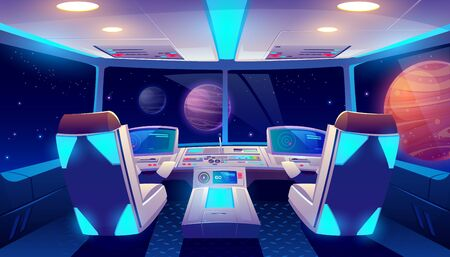 Illustration pour Spaceship cockpit interior with space and planets view, rocket cabin with control panel, neon glowing seats for pilots and flight deck with navigation monitors, pc game Cartoon vector illustration - image libre de droit