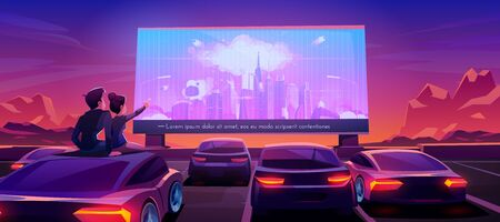 Ilustración de Couple at car cinema. Romantic dating in drive-in theater with automobiles stand in open air parking at night. Man and woman sitting on auto roof watching thriller movie. Cartoon vector illustration - Imagen libre de derechos
