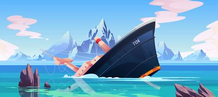 Illustration pour Shipwreck accident, ship run aground sinking in ocean, vessel going under water surface on seascape background with rocks, mountains and cloudy sky, marine transport crash. Cartoon vector illustration - image libre de droit
