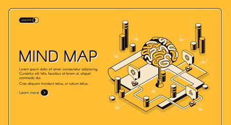 Mind map isometric landing page, human brain and graphical way to represent ideas and concepts, visual thinking tool that help structuring information, 3d vector illustration, line art web banner