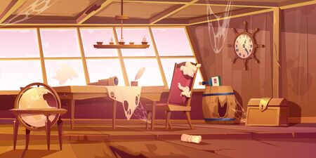Illustration pour Abandoned pirate ship cabin. Vector cartoon illustration of empty destroyed interior of old wooden room with broken furniture and windows, messy walls with spiderweb. Scary Halloween background - image libre de droit