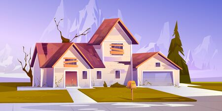 Illustration pour Adandoned old house with broken roof and boarded up windows. Vector cartoon illustration of derelict dilapidated home, forgotten ramshackle building on mountains landscape - image libre de droit
