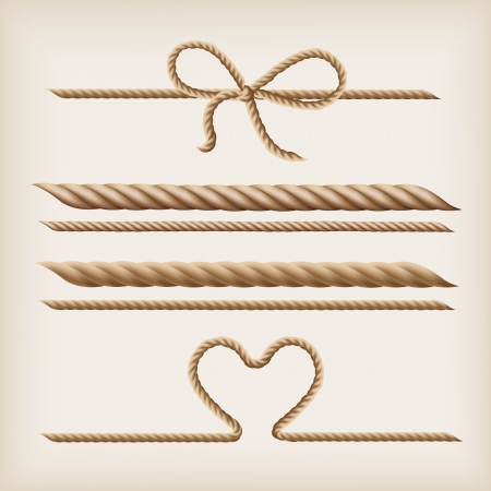 Ropes and rope bow on the light brown background