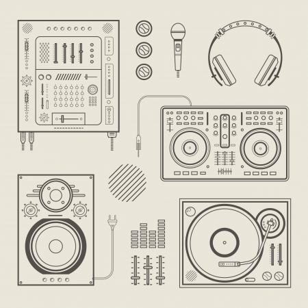 set of various stylized dj icons