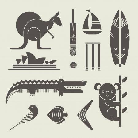 set of various stylized australia icons