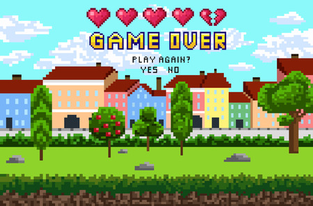 Illustration pour Game over pixel are design with city landscape, sky and trees. Pixel inscription Game over.Play again? with five hearts. Vector illustration. - image libre de droit