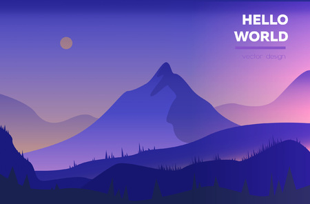 Illustration pour Modern polygonal landscape  with mountains. vector illustration. Modern design template for web-banner - image libre de droit