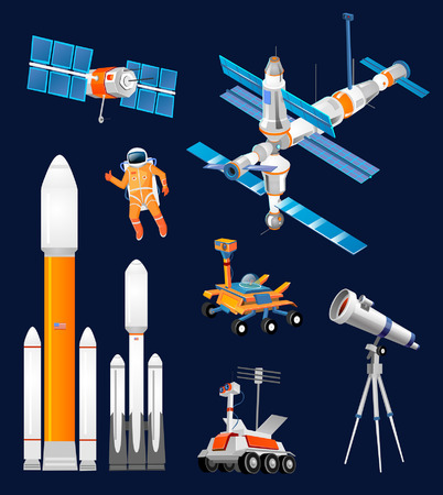 Illustration pour Vector cartoon space exploration set. Space rockets, astronomical telescopes, satellite dish, astronaut, rover, moon-rover, international Space Station. Scientific equipment in space exploration. - image libre de droit