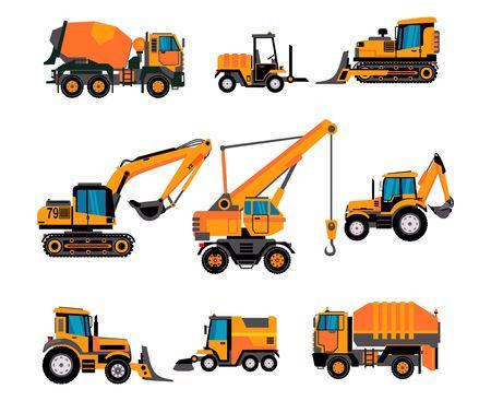 Illustration pour Set of different building equipment on white background. Concrete mixer, wheel loaders, excavator, bulldozer, front loader, backhoe loader. - image libre de droit
