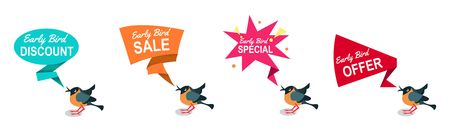 Illustration pour Early bird discounts and sales banners set isolated on white background. Early bird promotions. Vector illustration - image libre de droit