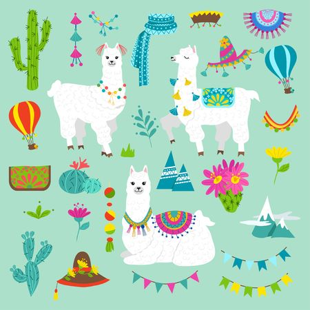 Photo pour Set of cute alpacas and hand drawn elements. Llamas and cacti vector illustration. Summer design elements for greeting cards, baby shower, invitation, posters etc. - image libre de droit