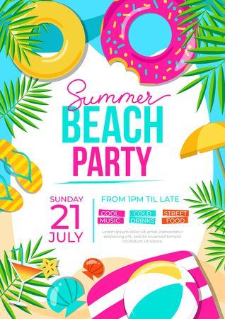 Ilustración de Summer beach party poster. Summer party colorful invitation. Vector summer background - Imagen libre de derechos
