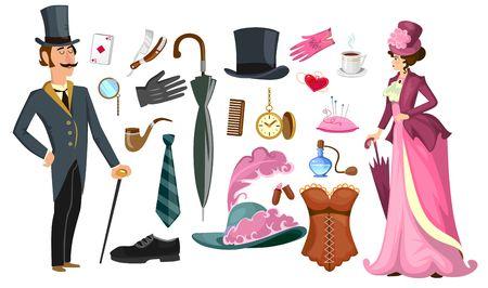 Ilustración de Victorian lady and gentlemen fashion collection in cartoon style. Vintage clothing set corset,shoes, hat, perfume, umbrella, sewing kit, razor etc. Vintage men's women's fashion accessories. Vector cartoon illustration - Imagen libre de derechos