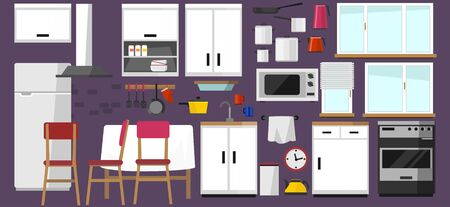 Illustration pour Kitchen elements collection. DIY kitchen with white facade in scandinavian style and home electronics isolated on white background. Kitchen in cartoon flat style. Vector illustration. - image libre de droit