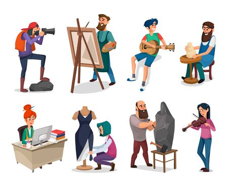 Illustration pour Set of creative people and interesting professions vector illustration. Office clerk painter pottery guitarist photographer violinist and seamstress flat style. Isolated on white background - image libre de droit